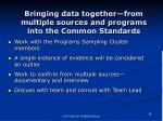 bringing data together from multiple sources and programs into the common standards