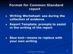 format for common standard report