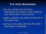 pre visit worksheet