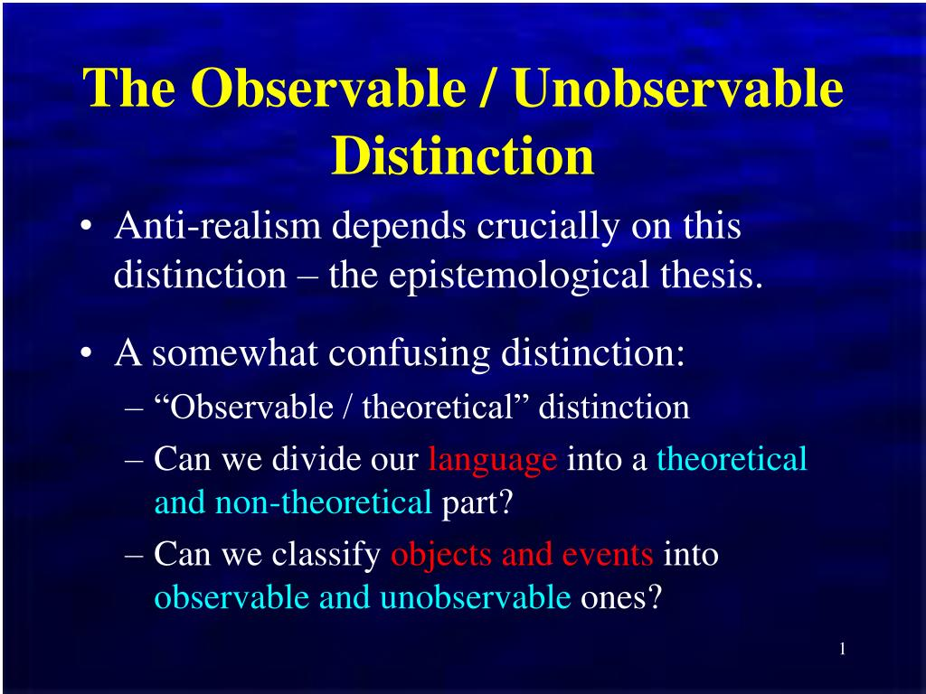 the observable unobservable distinction l.