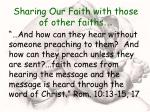 sharing our faith with those of other faiths16