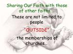 sharing our faith with those of other faiths37