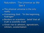 naturalism the universe as we see it