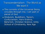 transcendentalism the world as we want it