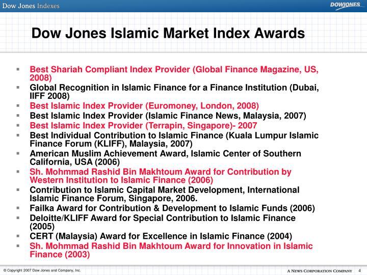 Dow Jones Islamic Market Index Awards