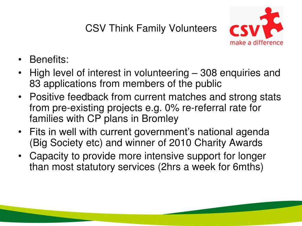 CSV Think Family Volunteers