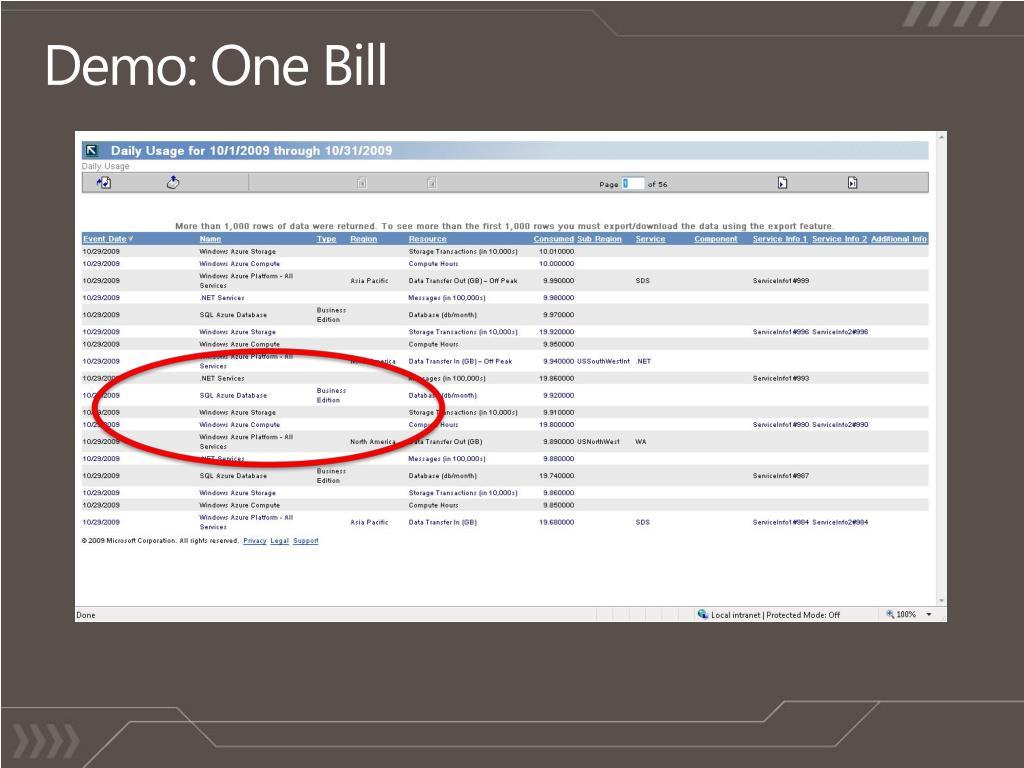 Demo: One Bill