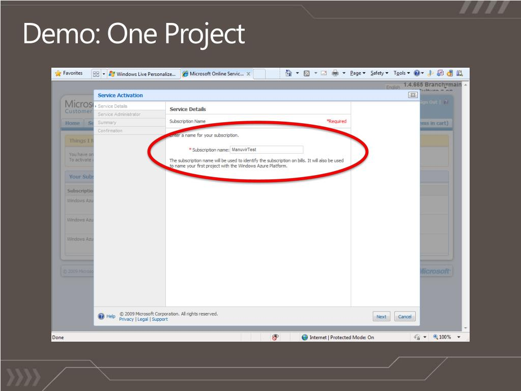 Demo: One Project