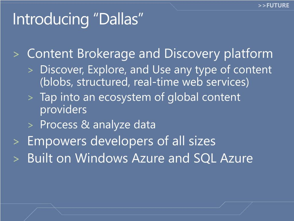 """Introducing """"Dallas"""""""