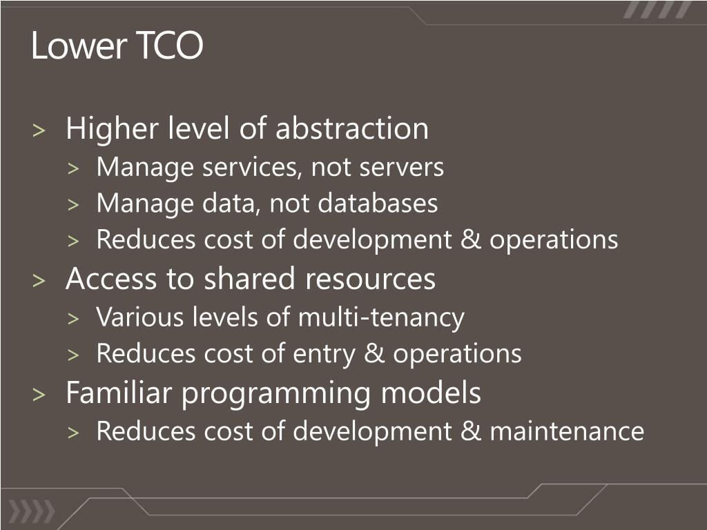 Lower TCO