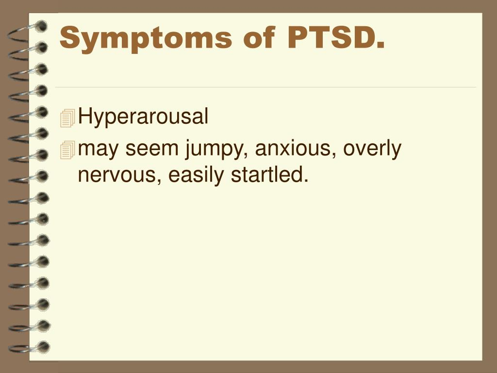 Symptoms of PTSD.
