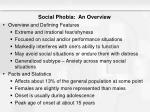 social phobia an overview