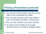 printing a presentation continued