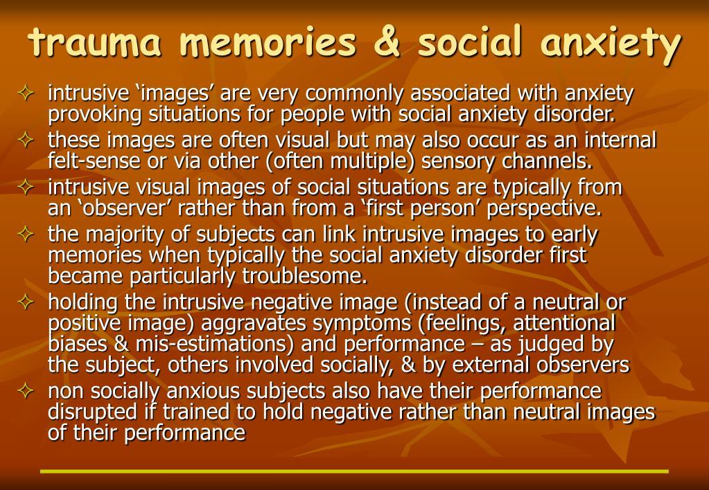 trauma memories & social anxiety