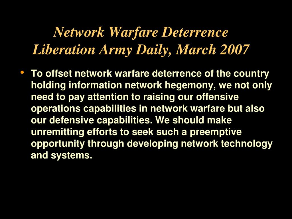 Network Warfare Deterrence
