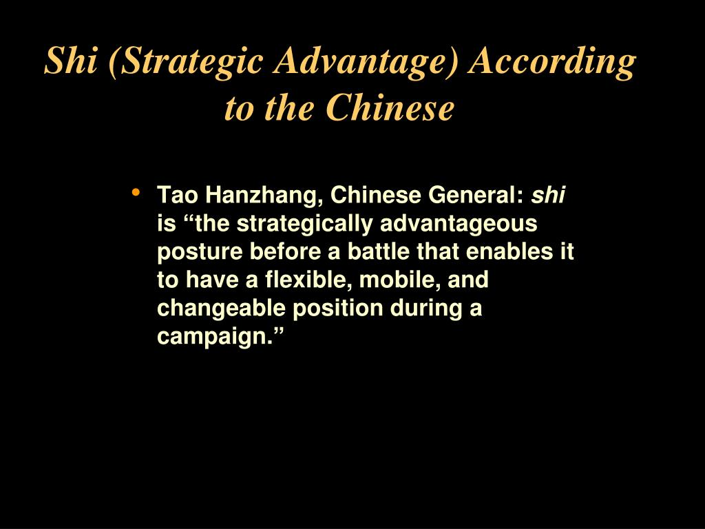 Shi (Strategic Advantage) According to the Chinese
