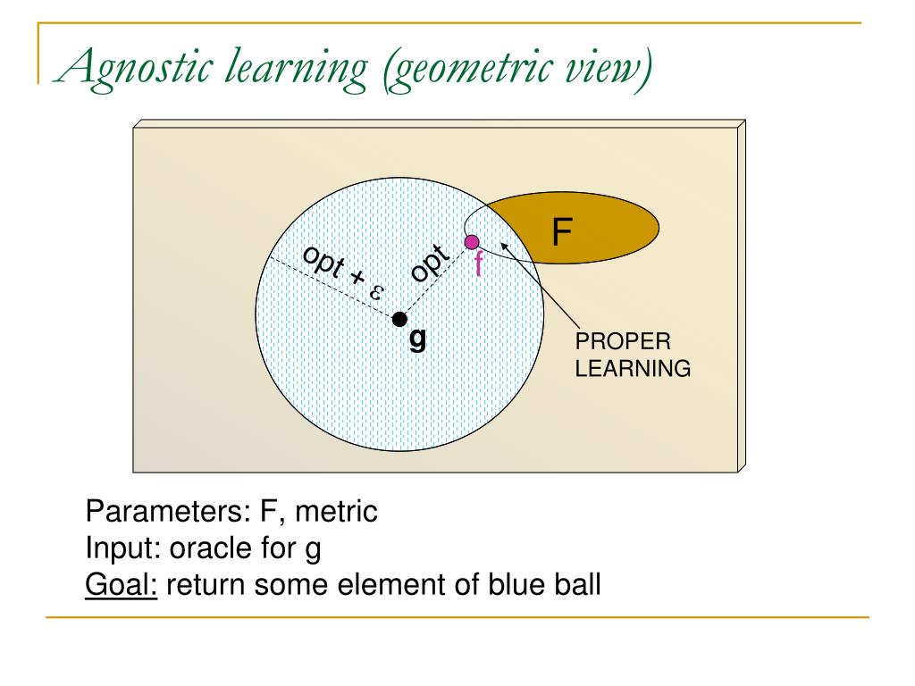 Agnostic learning (geometric view)