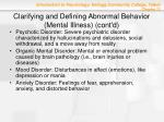 clarifying and defining abnormal behavior mental illness cont d