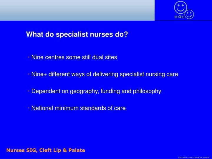 What do specialist nurses do