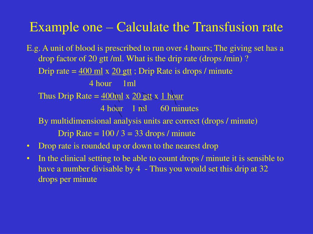 Example one – Calculate the Transfusion rate