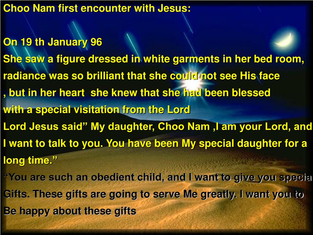Choo Nam first encounter with Jesus: