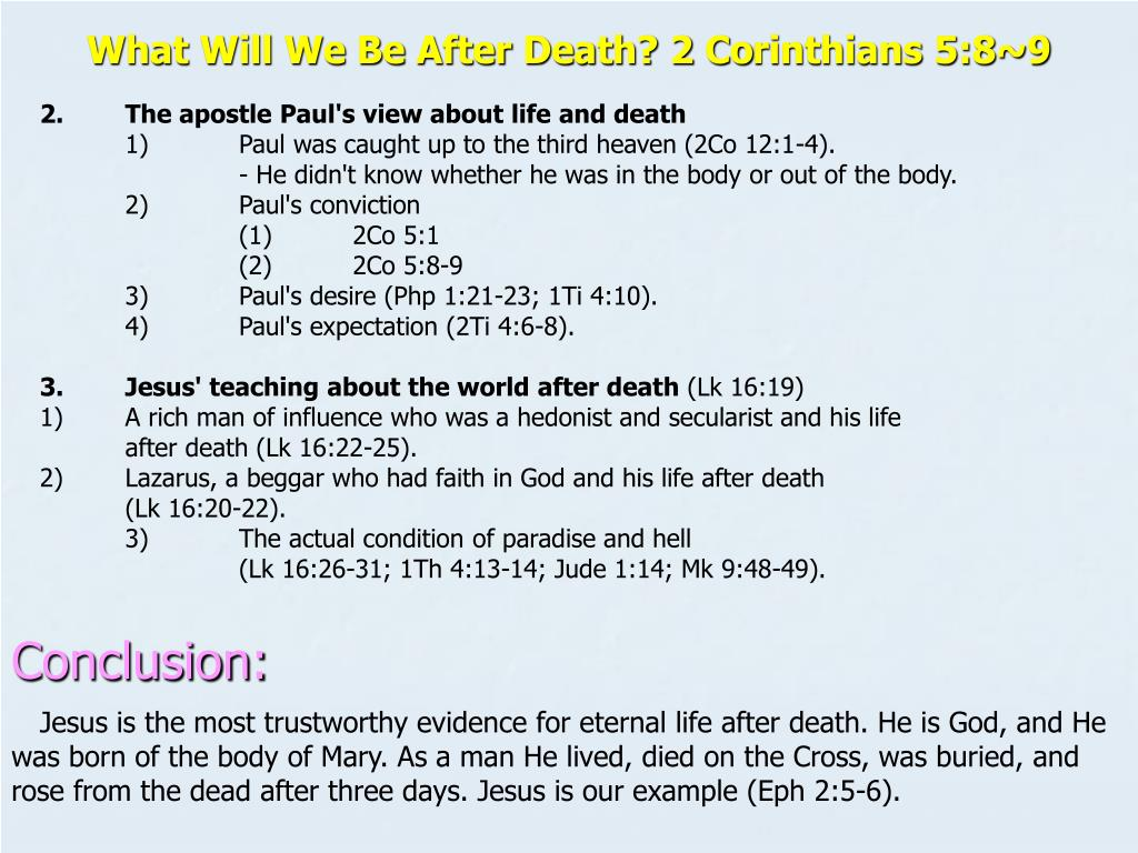 What Will We Be After Death? 2 Co