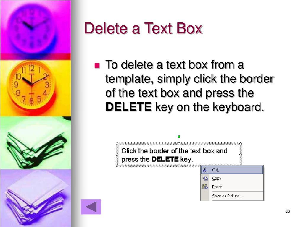 Delete a Text Box