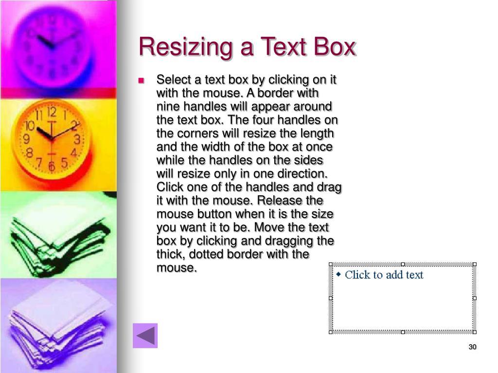 Resizing a Text Box