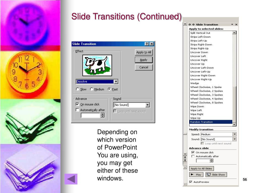 Slide Transitions (Continued)