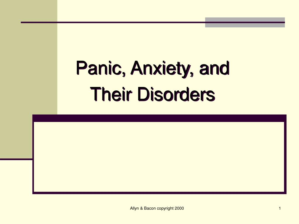 panic anxiety and their disorders l.