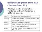 additional designation of the state of the aluminium alloy
