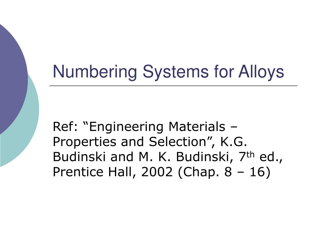 numbering systems for alloys l.