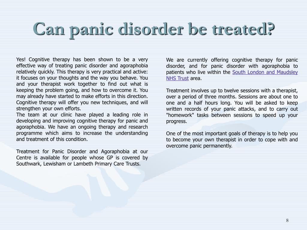 Can panic disorder be treated?