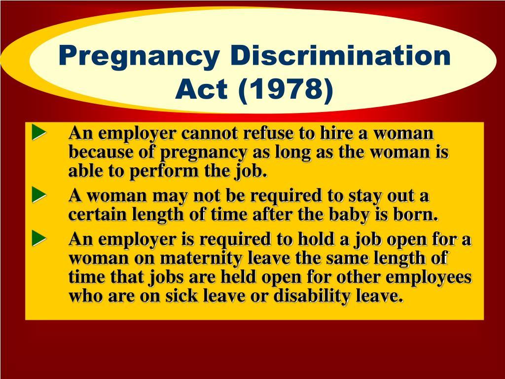 pregnancy discrimination act of 1978