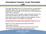 atmosphere hazards lower flammable unit