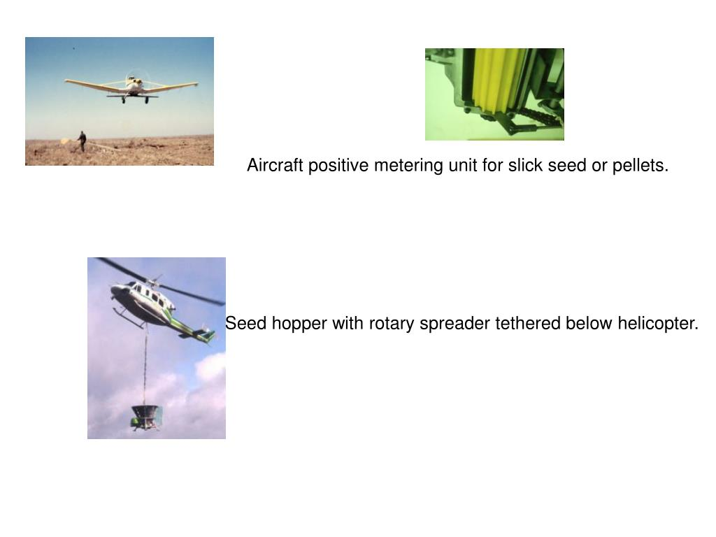 Aircraft positive metering unit for slick seed or pellets.
