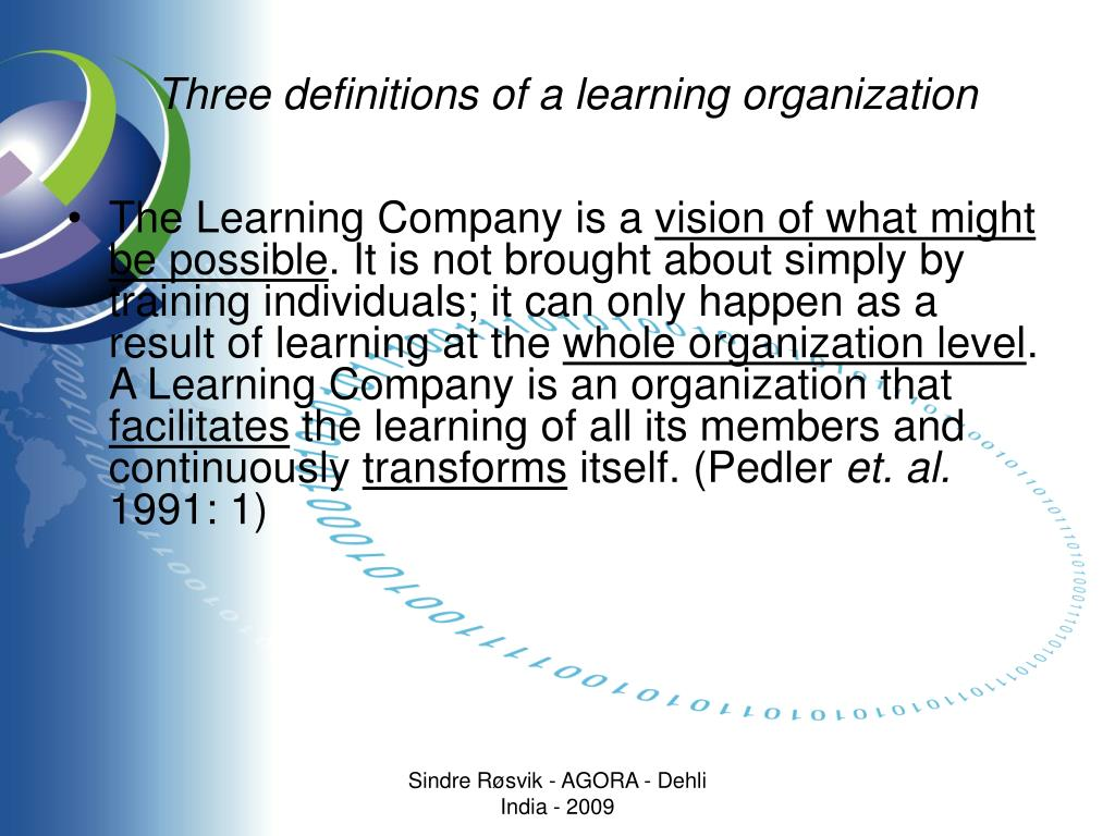 Three definitions of a learning organization