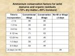 ammonium conservation factors for solid manures and organic residuals 10 dry matter 90 moisture