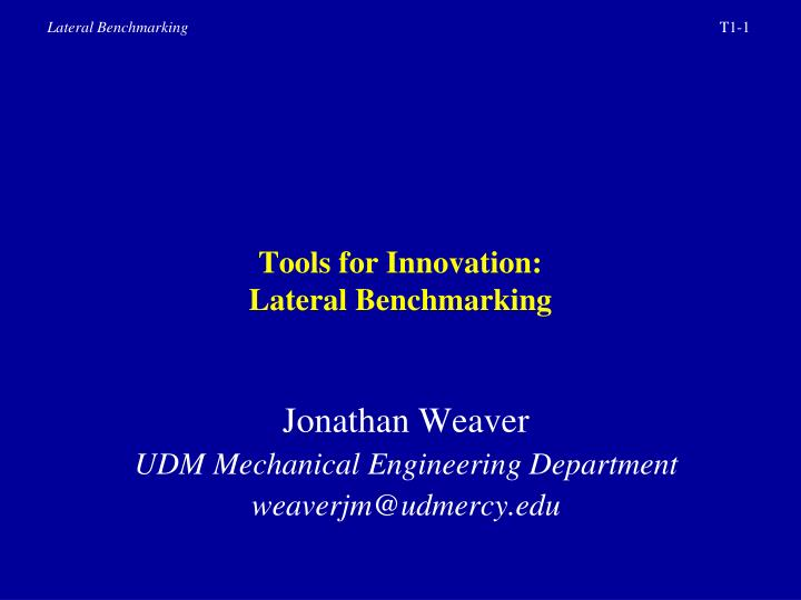 Tools for innovation lateral benchmarking