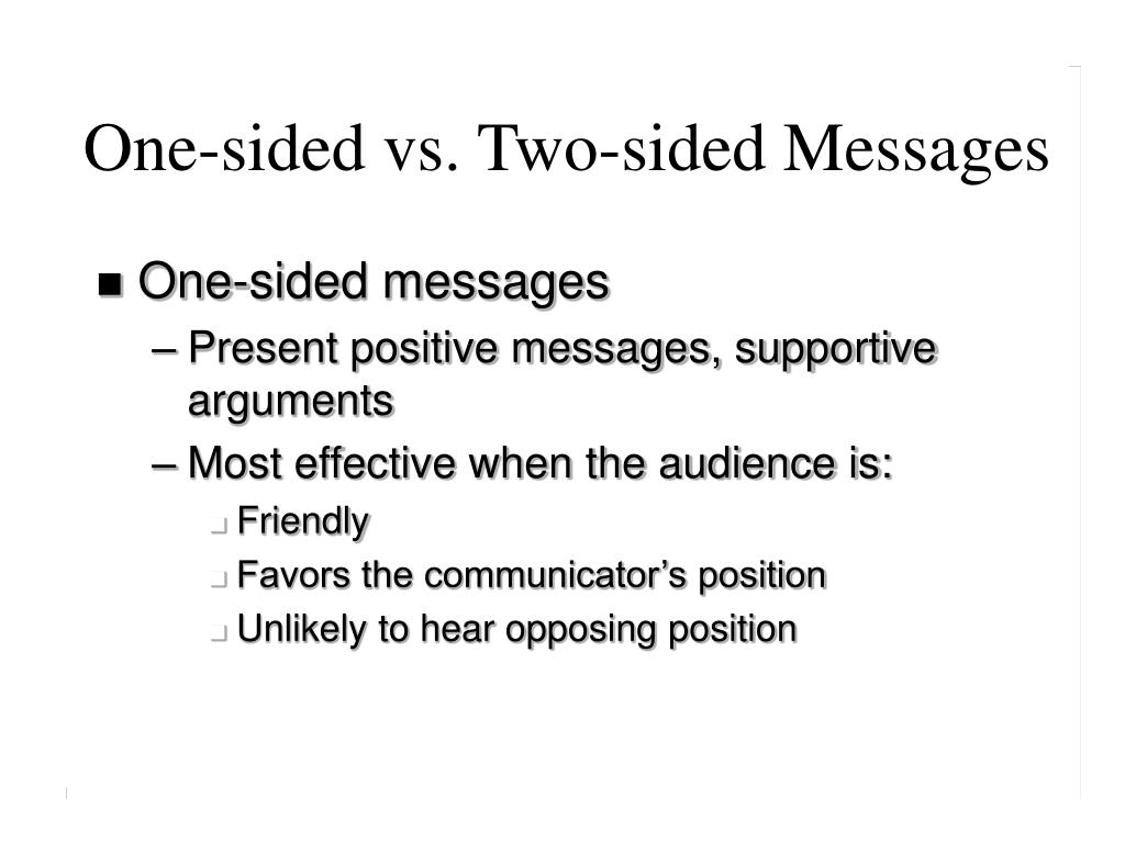 One-sided vs. Two-sided Messages