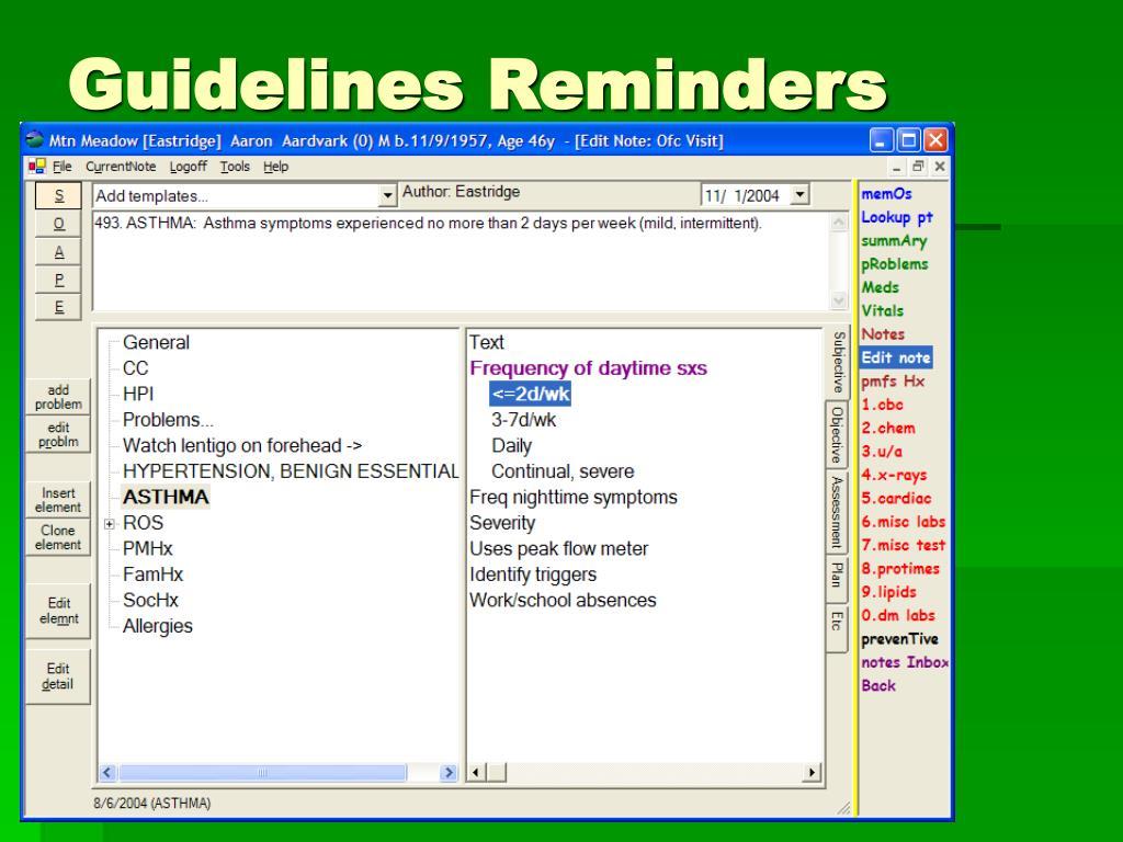 Guidelines Reminders