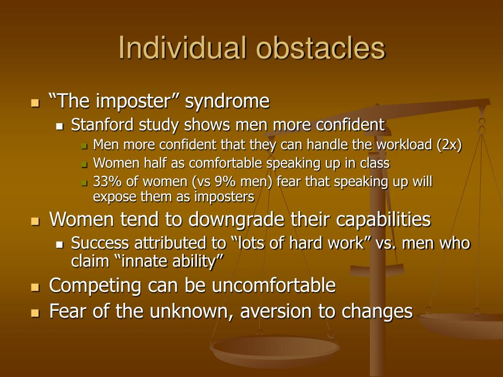 Individual obstacles