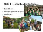 state 4 h junior leader conference