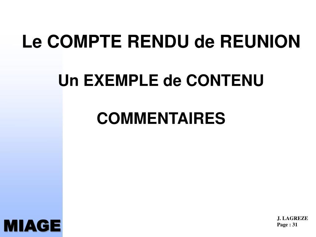 Le COMPTE RENDU de REUNION