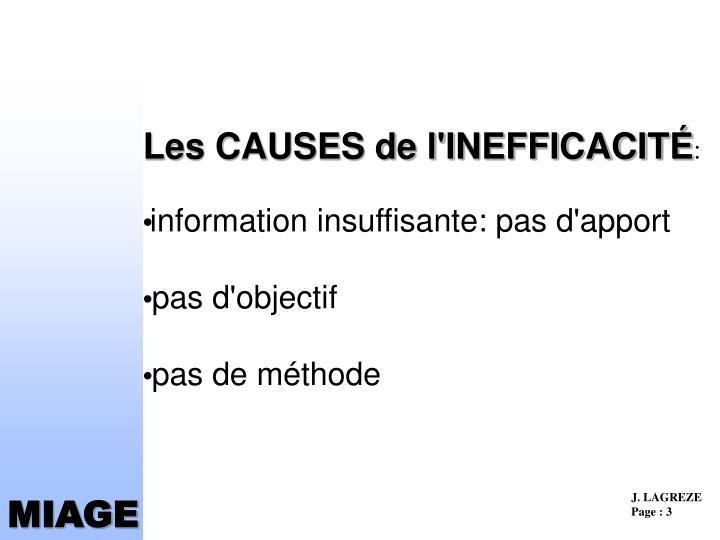 Les causes de l inefficacit information insuffisante pas d apport pas d objectif pas de m thode