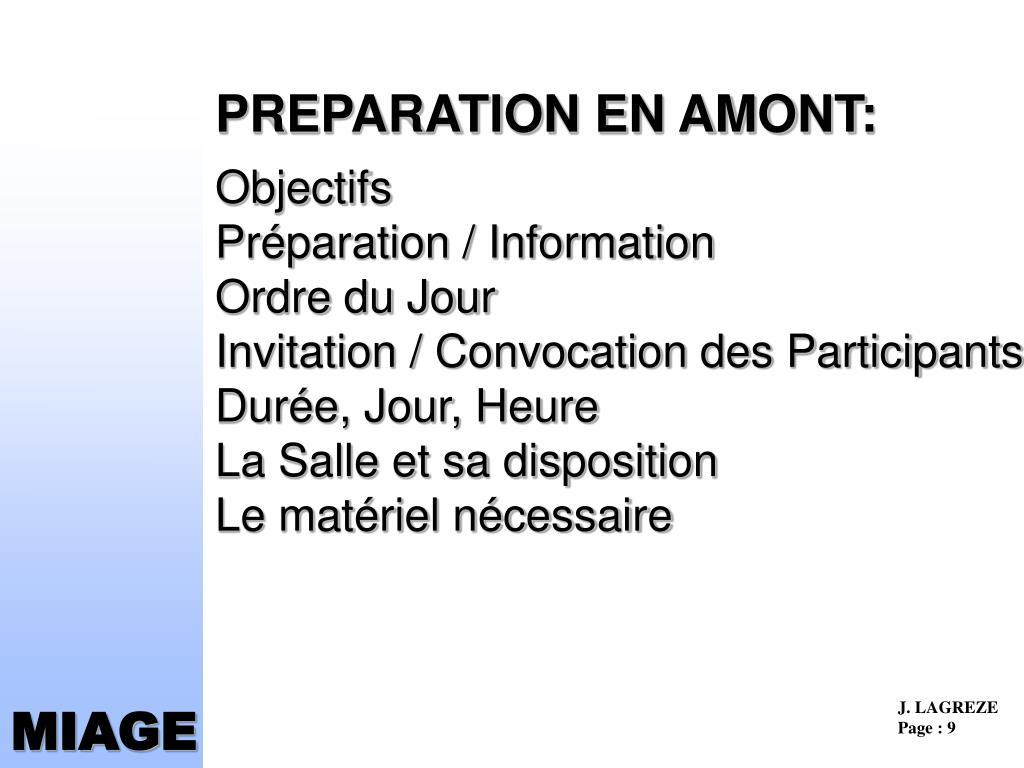 PREPARATION EN AMONT: