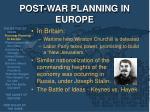 post war planning in europe