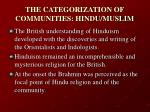 the categorization of communities hindu muslim