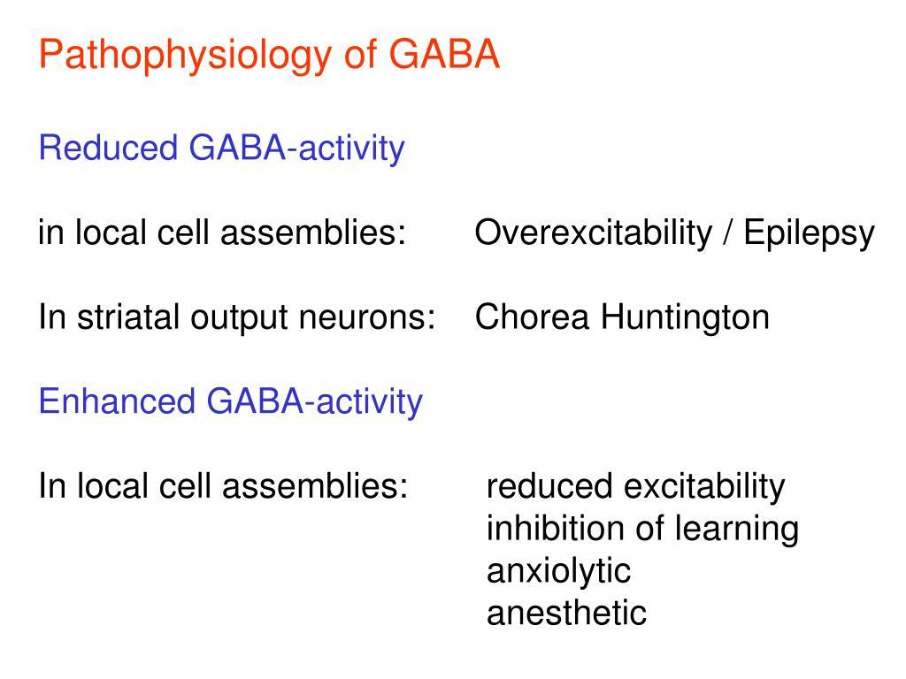 Pathophysiology of GABA