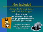 airline airport taxes and fuel surcharges